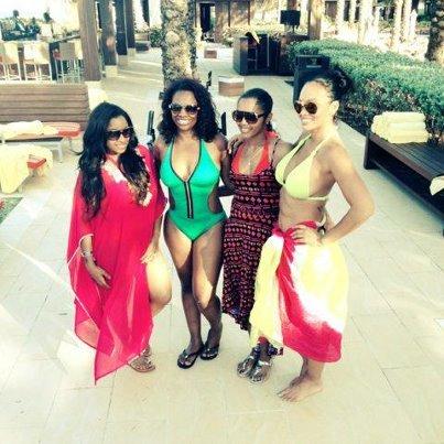 Reality TV stars Toya, Kandi Burruss, Love & Hip Hop: Atlanta's Rasheeda & Basketball Wives' Evelyn Lozada in the Bahamas