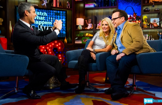 Kim Richards and Tom Arnold on Watch What Happens Live with Andy Cohen (from Bravo's photo gallery)