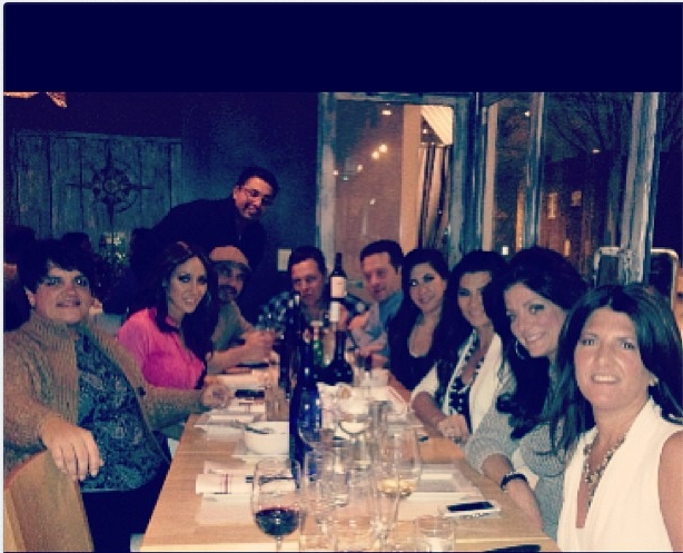 Cast of Real Housewives of New Jersey at Dinner (tweet from Kathy Wakile)