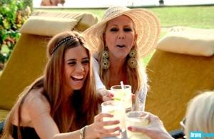 Lydia and vicki at poolside
