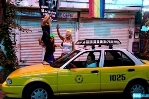 Tamra dancing on taxi