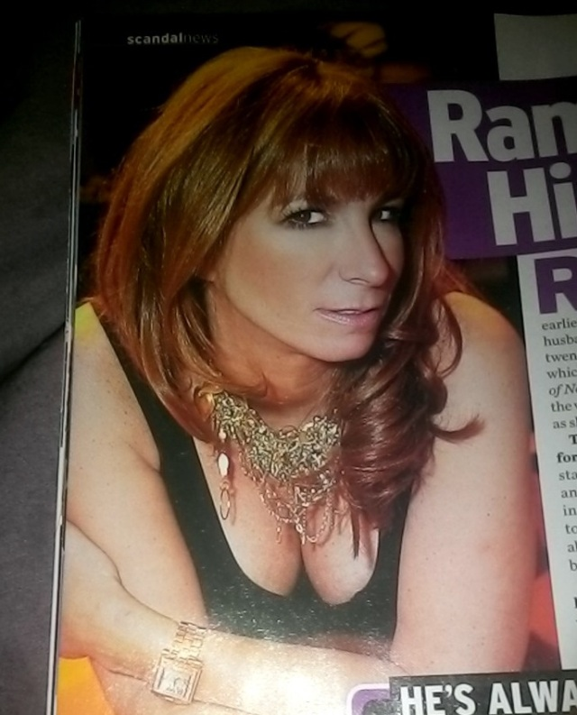 Jill's bosom is on full display in the magazine - yet she seems to take offense that Mario may have snuck a look.  Photo credit InTouch magazine.