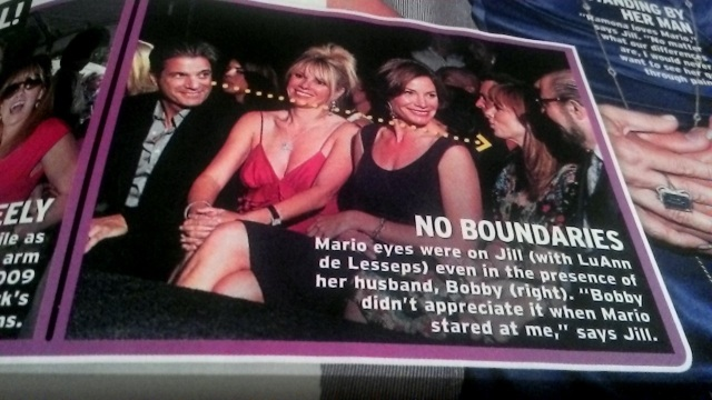 This photo is supposedly showing Mario leering at Jill's breasts.  It sure looks like he's looking at her face, as is Countess Luann.  I suppose he should have ignored her like Ramona is doing.  Photo credit - InTouch magazine.