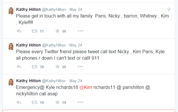 Kathy Hilton's 911 tweets didn't tag any of her family - it was very very strange