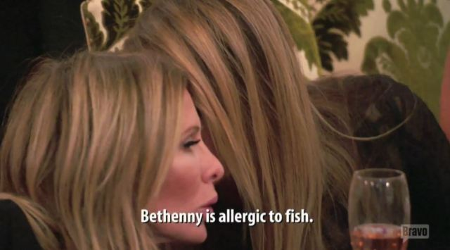 Bethenny is allergic to fish
